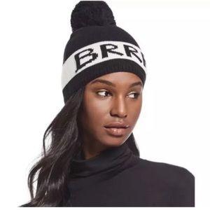 Black Kate Spade BRRR pom beanie